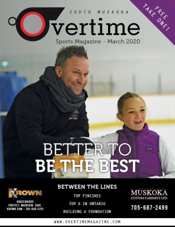 Cover of Overtime Sports Magazine - March 2020, featuring Coach Jeff Trott and Regan French