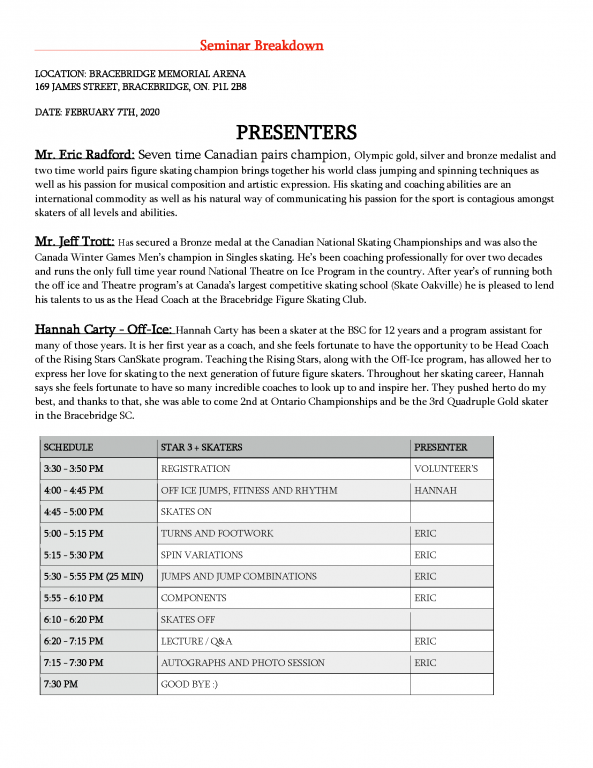 Presentation schedule for the Eric Radford Seminar at the Bracebridge Skating Club, February 7, 2020.